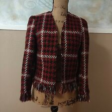 TOPSHOP Women's Small 4 Fringe Boho Red Houndstooth Open Front Blazer Top Jacket
