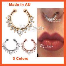 Diamond Gem Fake Clip On Septum Clicker Nose Hanger Ring Piercing Jewellery Gift