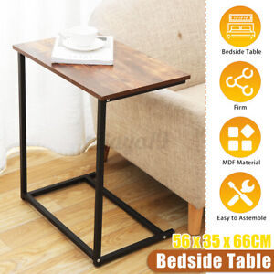 Rustic Side End Table Bedside Sofa Coffee C Shaped Laptop Stand Vintage Shelf