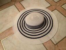 Maison Michel Paris Chanel Hat Mariniere Straw M White Navy 50cm