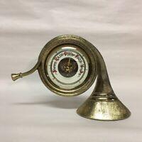 Vintage Barometer Brass French Horn BENTLEY Western Germany Desk Shelf Music