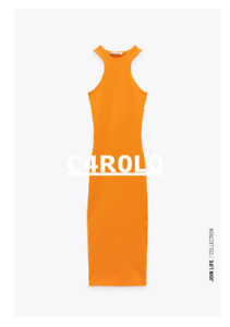 ZARA WOMAN NWT SS21 TANGERINE FITTED HALTER DRESS ALL SIZES REF. 0264/335
