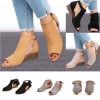 Womens Peep Toes Buckle Anke Boots Sandals Ladies Wedge Heels Summer Shoes New