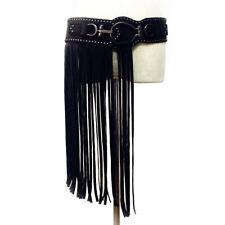Half Way Strap Eyelet Hippie BOHO Black Faux Leather Fringe Tassel Skirt Belt