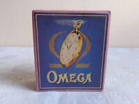 """Handgefertigt Taschenuhr Box Blau """"OMEGA"""" Karton Uhrenboxen Uhren Schatulle"""