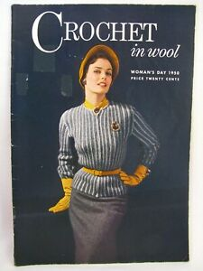 Vintage Crochet In Wool Womans Day 1950 Pattern Book Family Cardigans Baby Sets