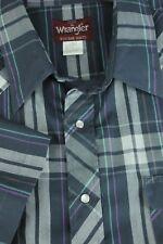 Wrangler Uomo Blu Navy Bianco & Viola Plaid Polyesterblend Western Camicie XL