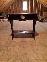 Country Antique Vintage Carved Heart Side Table, Night Stand , Plant Stand