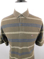 TOMMY HILFIGER Men's Short Sleeve Striped  Polo Shirt sz XL Brown White