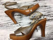 Vtg Cappellini Taupe Snakeskin Leather Platform Sandals Ankle Strap Heel 38 7.5