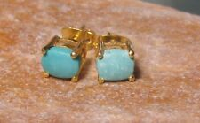 14K Gold plated brass cab turquoise stud earrings. Gift bag.