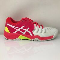Asics Mens Gel Resolution 7 C700Y White Red Pink Running Shoes Lace Up Size 4