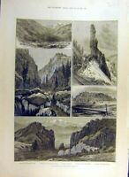 Original Old Antique Print 1884 Denver Rio-Grande Railway America New-Mexico