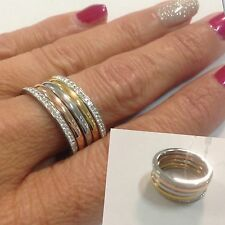 Anello donna alla moda 5 in 1 in 3 colori oro rame argento 19 mm acciaio