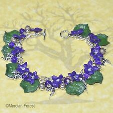 Wood Violet Flower Fairy Bracelet - Handmade Clay Jewellery, Summer, Fae, Sidhe
