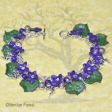 Wood Violet Flower Fairy Bracelet - Handmade Clay Jewellery, Summer, Fae, Sidhe