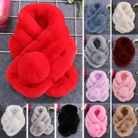 Winter Women Thicken Faux Fur Scarf Neck Warmer Fluffy Wrap Collar Stole Shawl