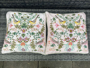 2 X Pretty M&S Embriodered Cushions Birds & Flowers 15x15 Inches