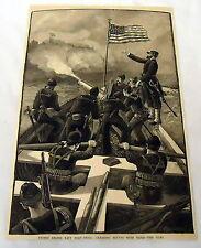 1889 magazine engraving~ UNITED STATES NAVY Boat-Drill