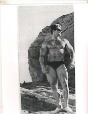 bodybuilder Larry Scott w/Sunglasses On The Rocks Bodybuilding Muscle Photo B&W