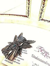Angel Pin Antique Silver Plate with clear Swarorski Crystal in circle for head