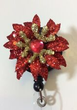 Christmas Poinsettias Flower Red Gold Retractable ID Badge Reel Key Card Gift
