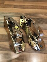 Pair Vintage Angled Brass Ships Boat Fairlead Cleat Nautical Maritime Marine