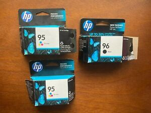 NEW set of 3 HP 95 and 96 printer ink cartridges, 1 black, 2 color