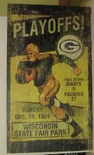 Vintage Green Bay Packers vs New York Giants Wood Wall Hanging Plaque