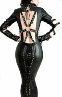 REAL LEATHER WOMEN GOTHIC DOMINA DRESS HOBBLE CORSET LACED MAGIC PARTY DRESS