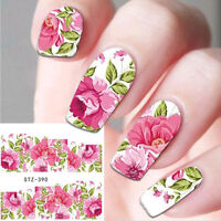 Nail Art Water Decals Stickers Decoration Pink Green Flowers Gel Polish (390)