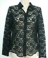 Principles Black Floral Lace Semi Sheer Blouse Top Size 10