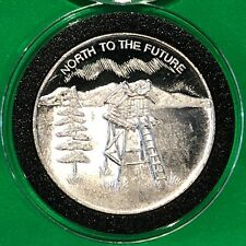 1984 North To The Future Alaska Coin 1 Troy Oz .999 Fine Silver Rare Round Medal