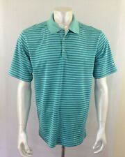 Nike Golf Men's Size Large Green Striped Short Sleeve Polyester Golf Polo Shirt
