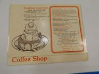 Vintage 1970's The Coffee Shop Pastry Fountain Treats Restaurant Menu