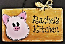 PIG Personalized Name KITCHEN SIGN Decor Wall Art Hanger Plaque Barnyard Decor