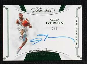 2019-20 Panini Flawless Finishes Emerald 2/5 Allen Iverson #AIV Auto HOF