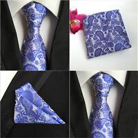 Mens Paisley Floral Royal Blue Silk Tie Pocket Square Handkerchief Set Lot HZ070