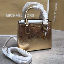 Bolsa de Oro Michael Kors Adele Mk bolsa de cuero en relieve en RRP £ 340 100% Genuino BNWT