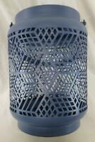 Yankee Candle Large Jar Holder Blue Grid w Handle Lantern Style Country Chic