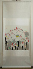 """Excellent Chinese 100% Hand Painting & Scroll """"Lotus"""" By Wu Guanzhong 吴冠中 WEDS"""