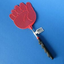 Extendable Red Hand Shape Flyer Swatter with Black Rubber Cushion Handle