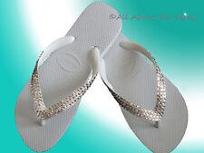 Havaianas Flip Flops white & Cariris Wedge with Swarovski Crystals Bride Wedding