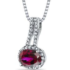 14K White Gold Created Ruby Diamond Pendant Oval Cut 1.5 Carats Total