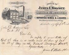 RARE -1888 Letterhead - Wolcott - Wine Liquor Rochester NY - Distiller - Signed