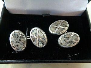 Vintage Sterling Silver Scottish Aberdeen Granite Agate Cufflinks h/m1926 + box