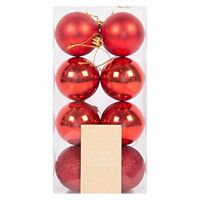 Christmas Bauble Glitter Xmas Tree Ornament Hanging Ball Photo Bauble Decor (Red