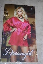 Womens Lingerie RED SATIN LOOK NIGHTGOWN & ROBE w/ BELT Dreamgirl 1X-2X 16W-20W