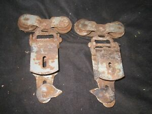 2 VINTAGE ANTIQUE LOUDEN? 1600 BARN SHED DOOR HANGING TRACK ROLLERS