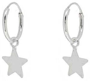 Pendientes Plata de Ley 925 Aro con Colgante Estrella.